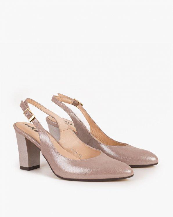 Pudrowe sandały skórzane na słupku 017  -2341-RÓŻ