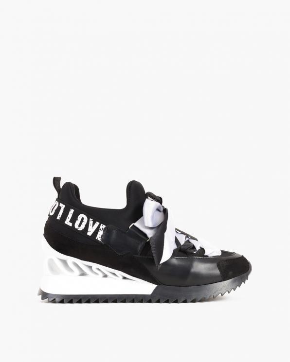Czarne sneakersy ze wstążką  083-88-CZARNY