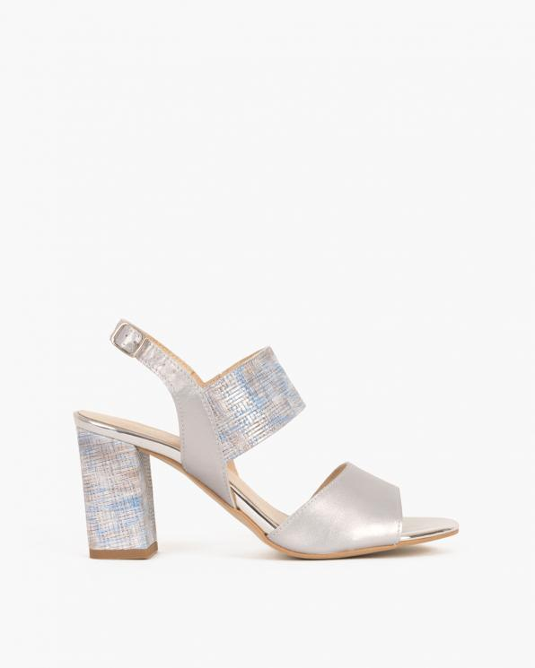Srebrne sandały na słupku z motywem  058 0933--P87