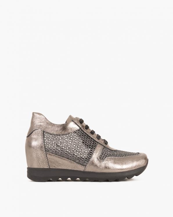 Srebrne sneakersy nubukowe ażurowe  080 208-SILVER