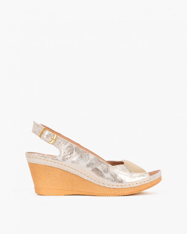 Złote sandały z motywem na koturnie  082 8002-KW ZŁOT