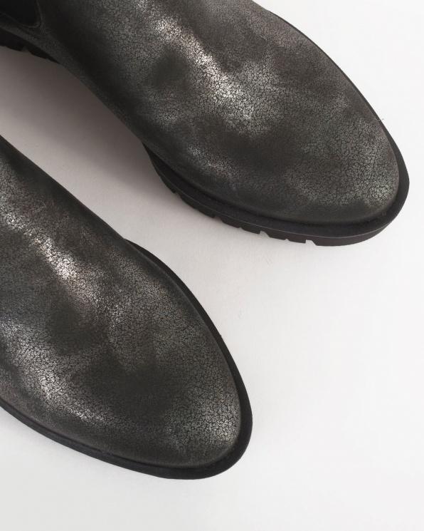 Czarne botki skórzane  005 -407-SREBR-N