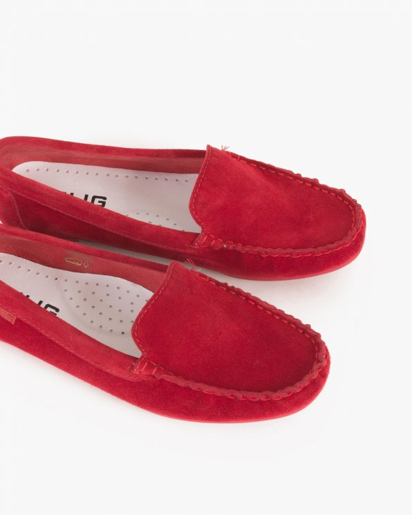 Czerwone mokasyny welurowe  005 -03171-CZERW