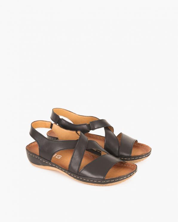 Czarne sandały skórzane  043 -944-CZARNY