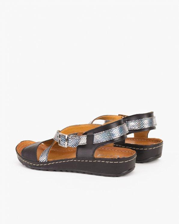 Czarne sandały skórzane  043 -024-CZARNY