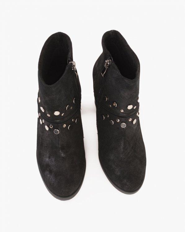 Czarne botki nubukowe na słupku  061 -9311-CZ/CHM