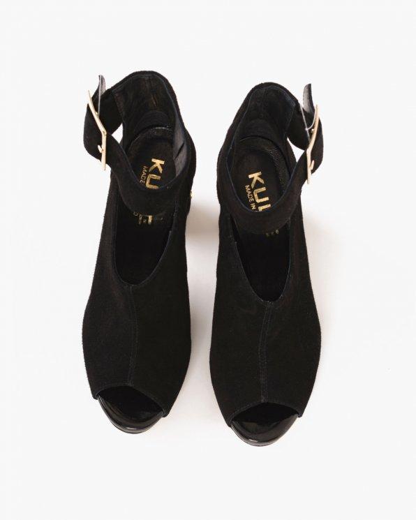 Czarne sandały welurowe na słupku  070 -9971-CZAR-W