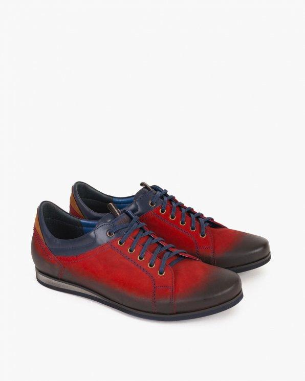 Czerwone półbuty męskie nubukowe  015 -5561-CZER-N
