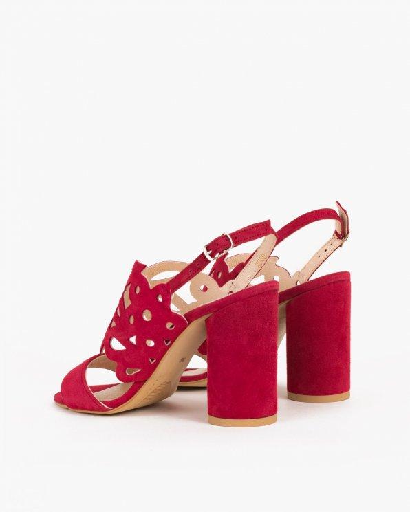 Czerwone sandały welurowe na słupku  061 -0402-BURGUN