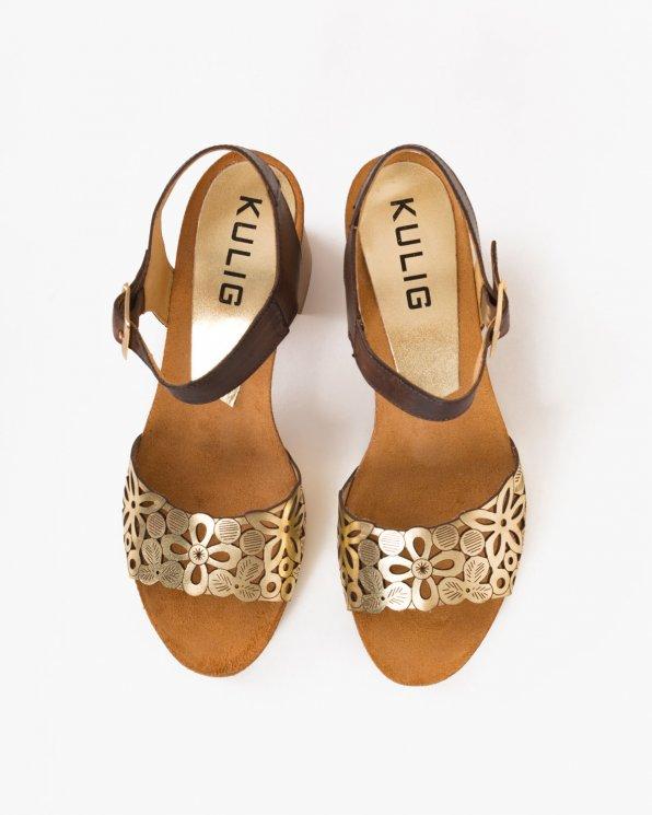 Złote sandały na słupku ażurowe  009 -73381-PLATY