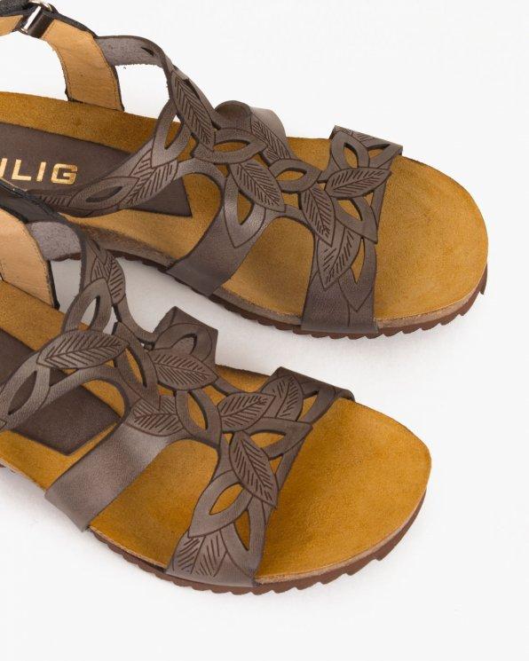 Grafitowe sandały skórzane  009 -02381-RATON