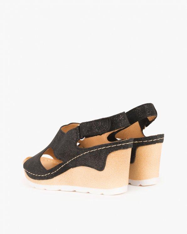 Czarne sandały skórzane na koturnie  043 -274-CZAR-ZL