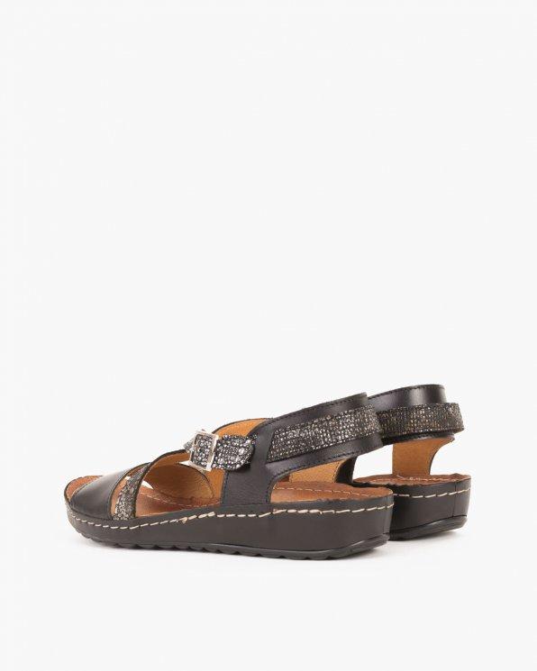 Czarne sandały skórzane  043 -024-CZ/ZŁOT