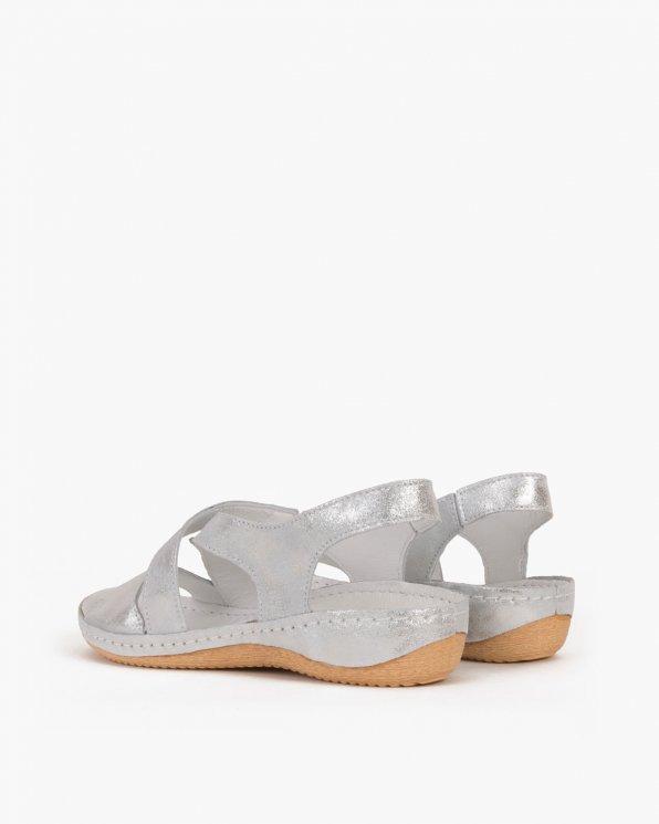 Srebrne sandały skórzane  043 -944-SREBRNY