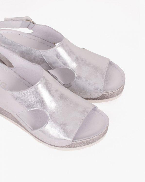 Srebrne sandały skórzane na koturnie  043 -274-SRE-PRZ