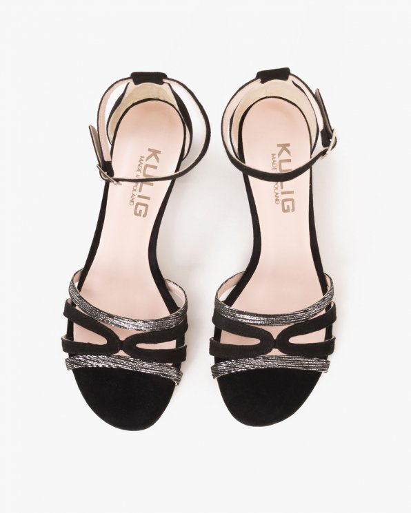 Czarne sandały welurowe  053 -3210-CZA/SR