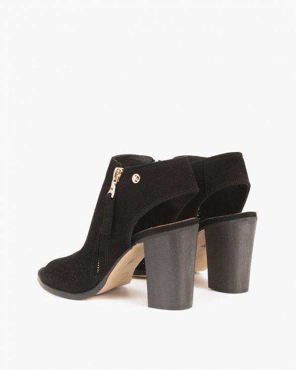 Czarne sandały welurowe ażurowe  005 -15381-CZARN