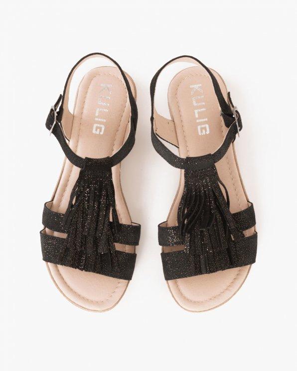 Czarne sandały skórzane z frędzlami  043 -454-CZ/ZO