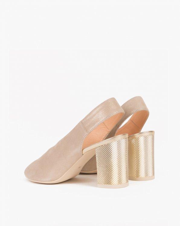 Złote sandały na słupku peep toe  060 -RAGA-ZŁO/BE
