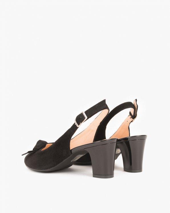 Czarne sandały welurowe z kokardą  060 -PETER-CZARN