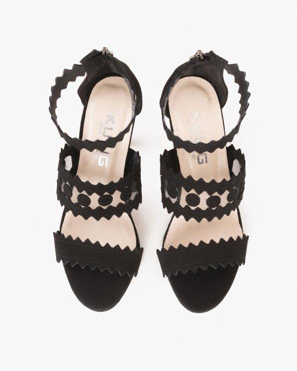 Czarne sandały zamszowe na szplice  061 -97020-CZARN