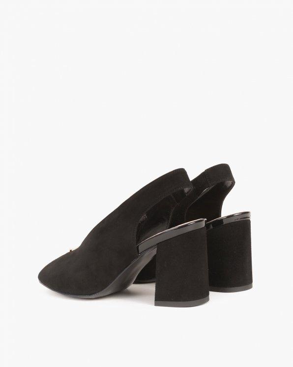 Czarne sandały na słupku peep toe  024 -7908-12