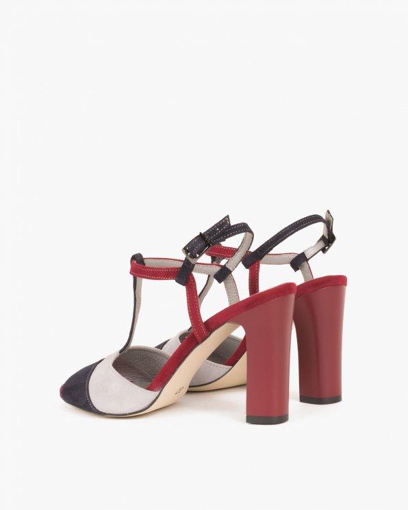 Wielokolorowe sandały welurowe na słupku  012 -7293-SZ/B/G