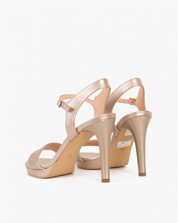 Złote sandały skórzane na szpilce  024 3619-9901