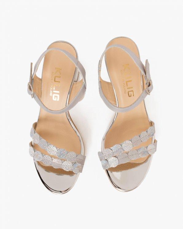 Srebrne sandały skórzane na słupku  058 8563-P87