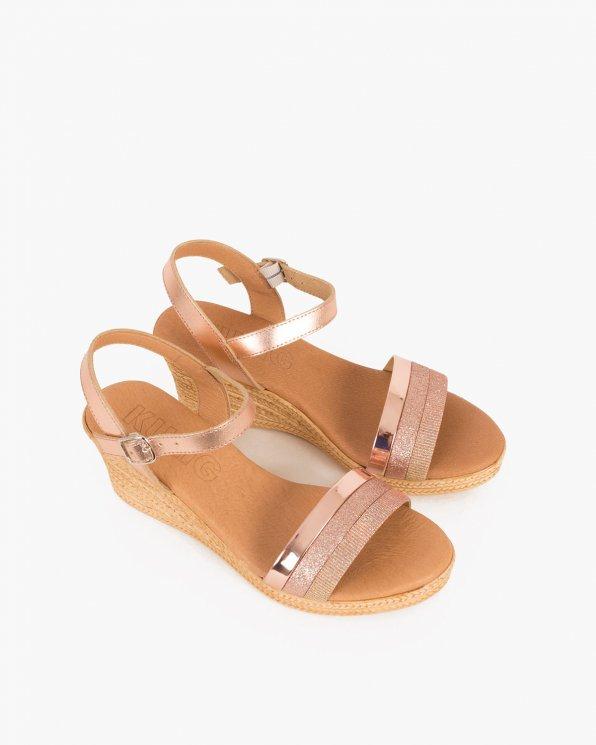 Różowo-złote sandały skórzane na koturnie  009 6959 RÓŻ ZŁO