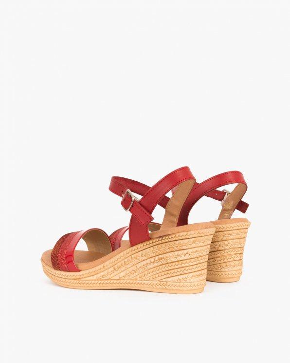 Czerwone sandały skórzane na koturnie  009 6959 CZERWON