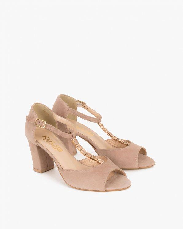Beżowe sandały zamszowe na słupku  061 5522-LINO