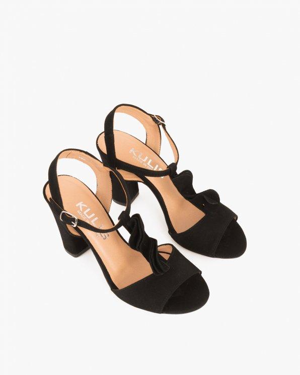 Czarne sandały zamszowe na słupku  061 4922-CZARNY