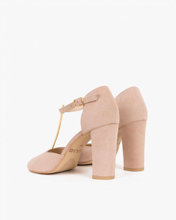 Pudrowe sandały welurowe na słupku  061 2202-LINO