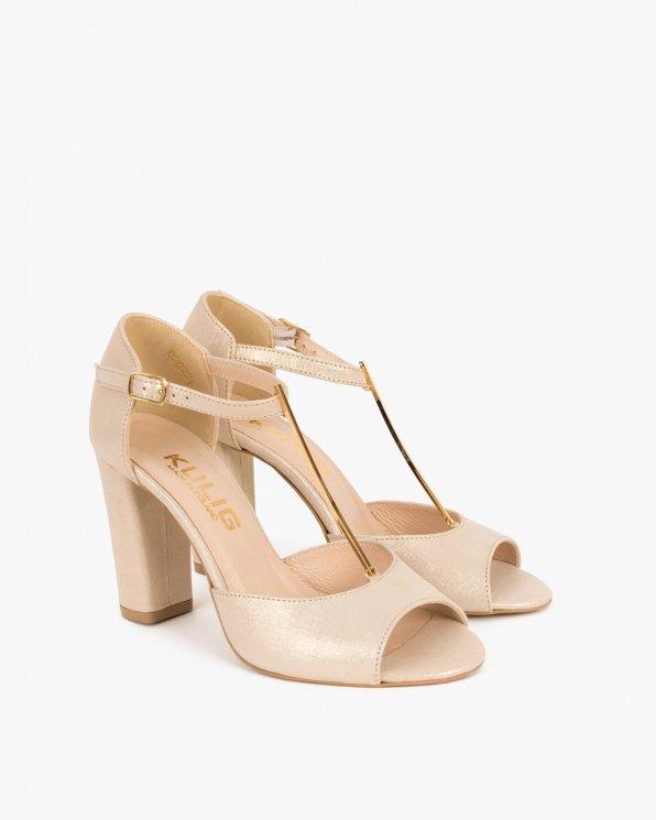 Złote sandały skórzane na słupku  061 2202-LEN