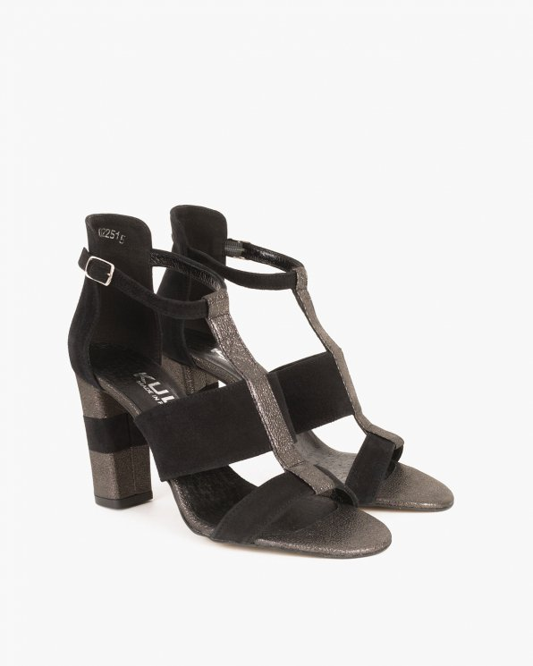 Czarne sandały welurowe na słupku  061 1522-CZARNY
