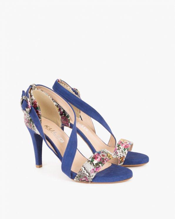 Granatowe sandały na szpilce z motywem  061 1222-OCEAN