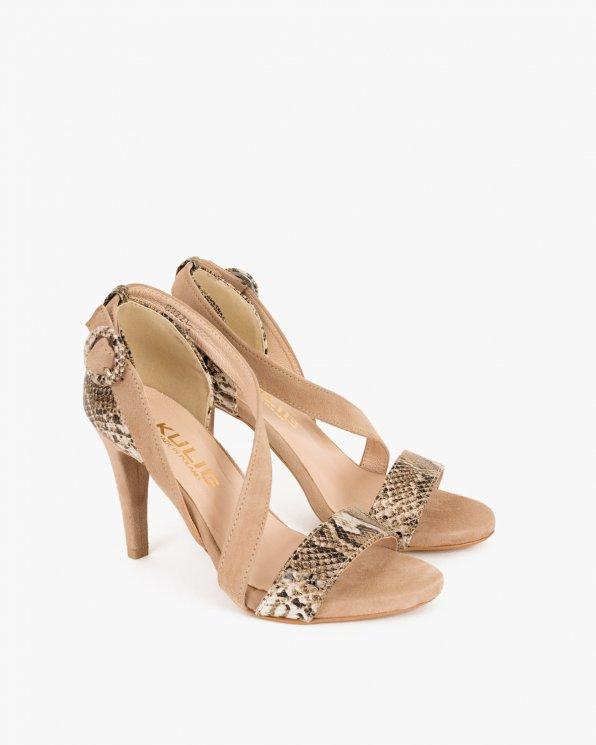 Beżowe sandały na szpilce z motywem  061 1222-BEŻ
