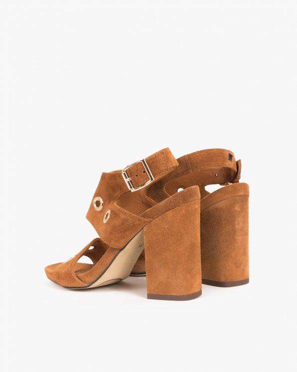 Brązowe sandały welurowe na słupku  005 66591-CAM W