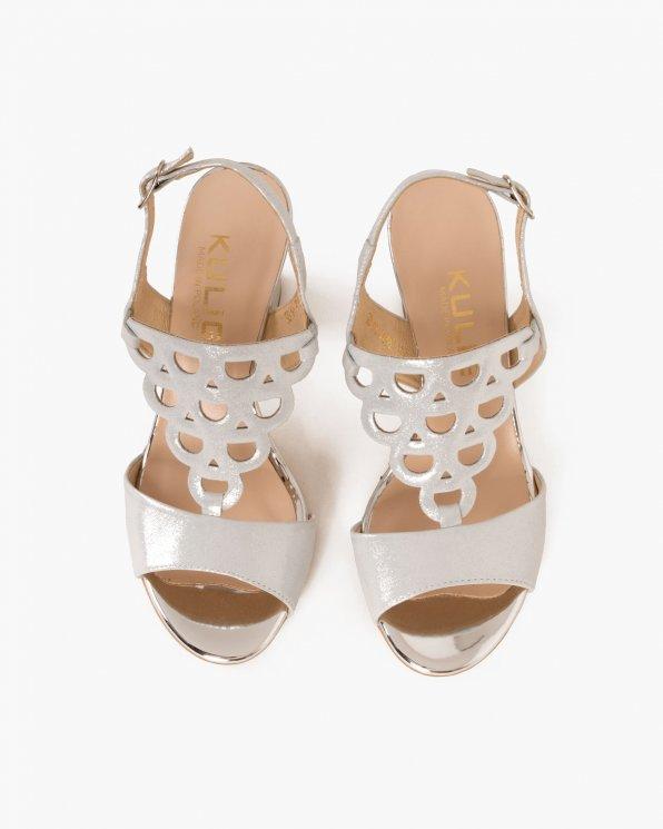 Srebrne sandały skórzane na klocku  058 4963-A 91