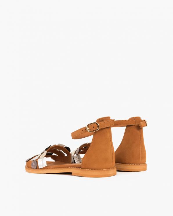 Brązowe sandały zamszowe  005 45591-CAMEL