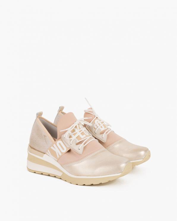 Pudrowo-złote sneakersy skórzane z lampasem  046 819-GOLD ROS