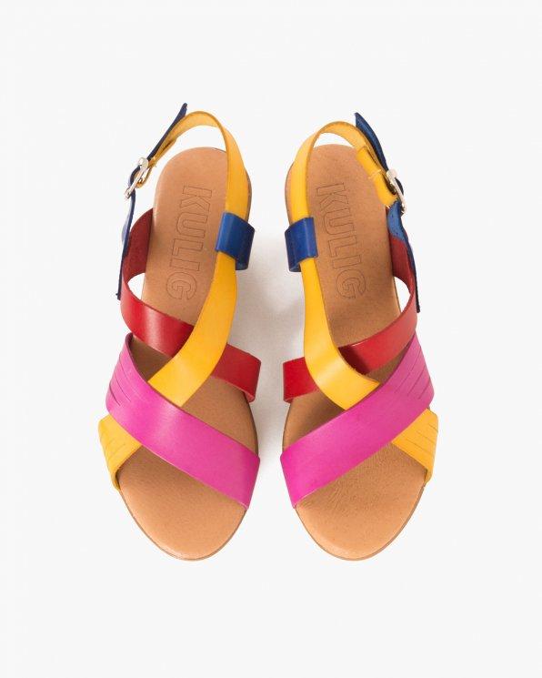 Wielokolorowe sandały skórzane na koturnie  009 7449-KLEIN M