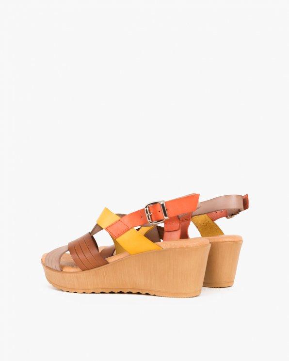Wielokolorowe sandały skórzane na koturnie  009 7449-CORAL M