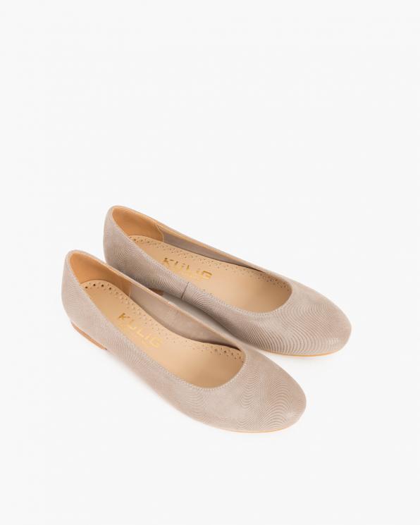 Beżowe baleriny nubukowe  KUL 049-FUNGI