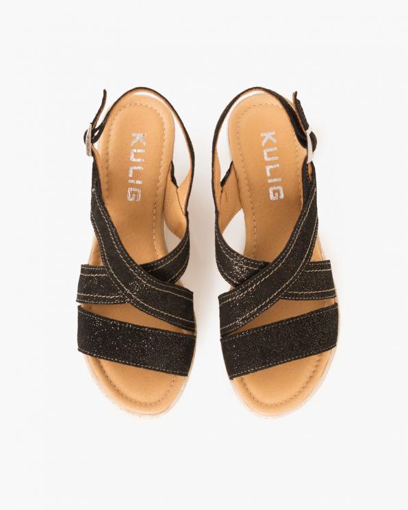 Czarne sandały nubukowe na koturnie  043 705-CZ/ZŁOT