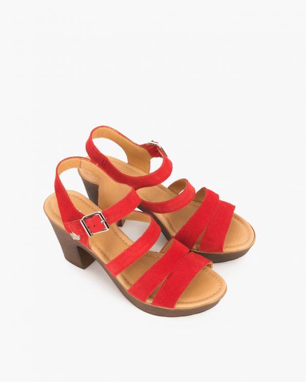 Czerwone sandały welurowe na słupku  043 505-CZERW-WE