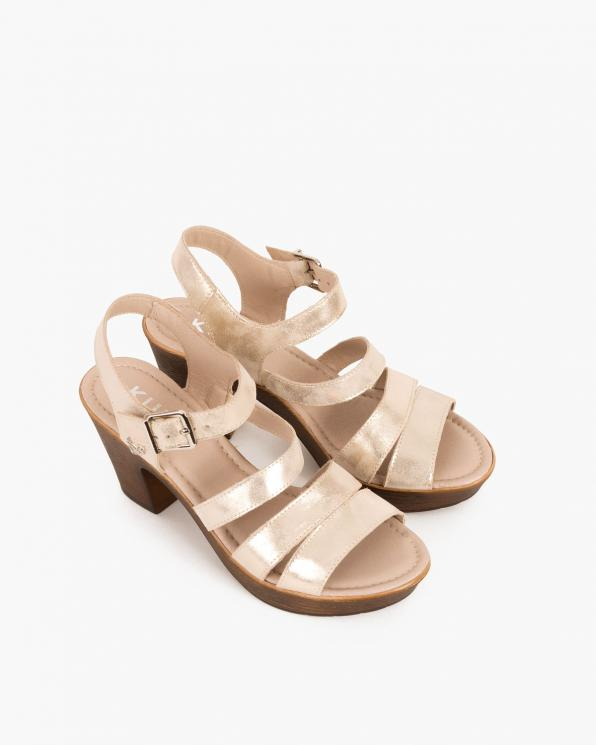 Złote sandały nubukowe na słupku  043 505-BEZ ZŁOT