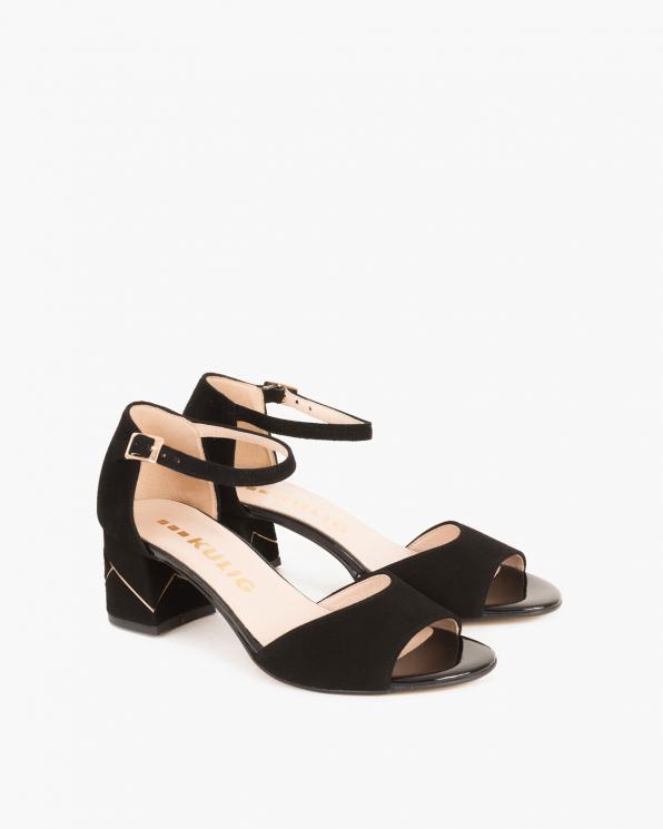 Czarne sandały zamszowe na słupku  018 002-CZARNY