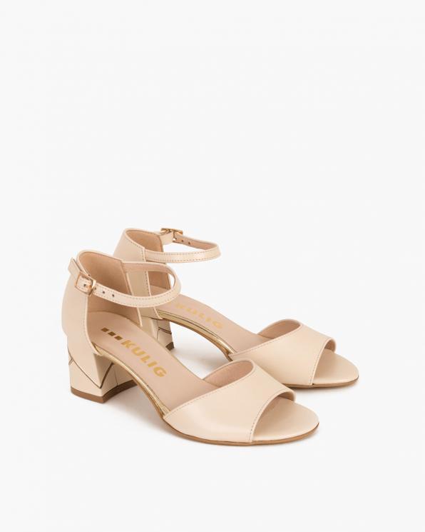 Beżowe sandały skórzane na słupku  018 002-BEŻ